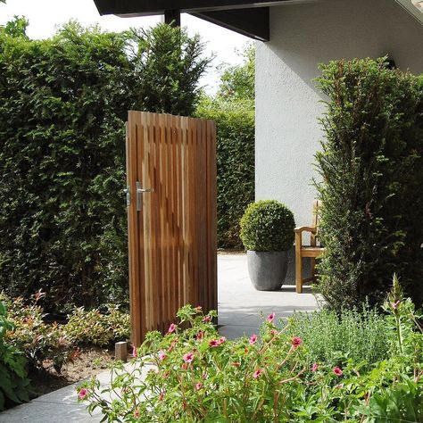 De entree tot uw tuin dient voldoende uitnodigend te zijn echter privacy en veiligheid zijn hier wel van groot belang  #tuin #privacy #entree #poort #mooi #tuinontwerp #architect #grasveld #haag #hout