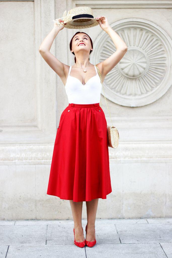 Spin! #red #midi #skirt