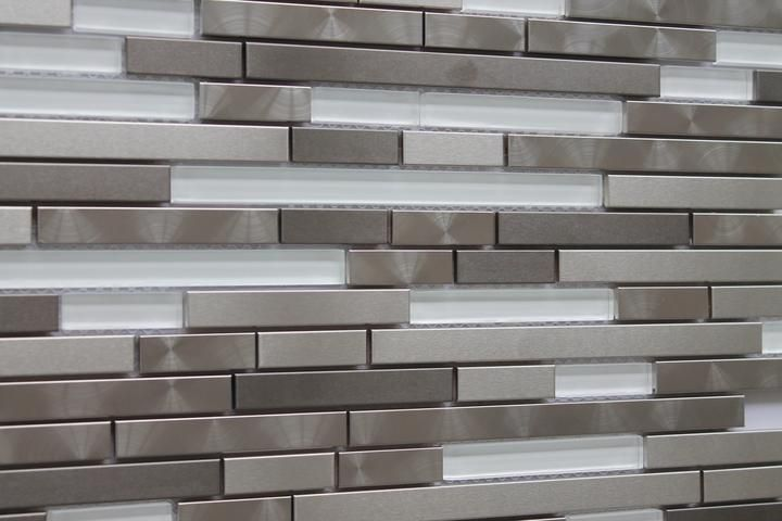 Stainless Steel and White Glass Random Strips Mosaic Tiles - Rocky Point Tile - Glass and Mosaic Tile Store