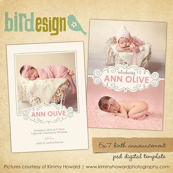 72 Best Birth Announcement Templates Images On Pinterest | Births