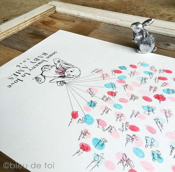 Gast boek alternatief Bunny Love vingerafdruk ballon door bleudetoi