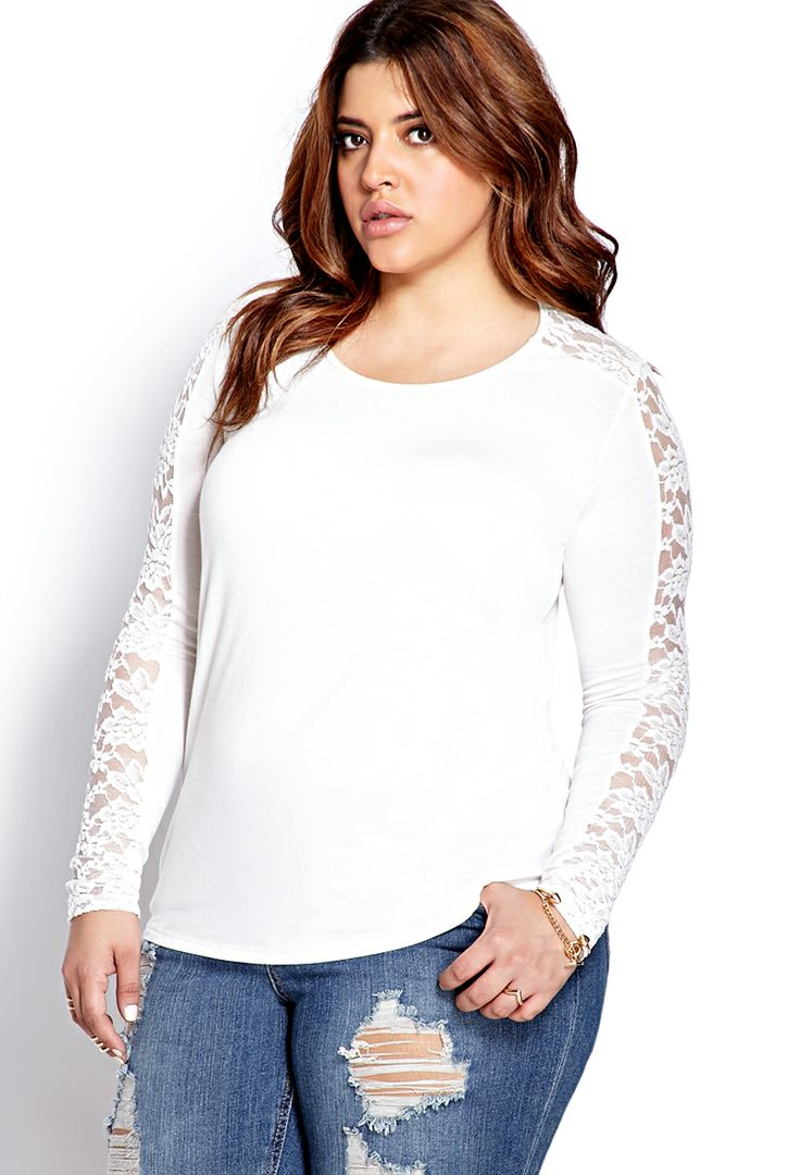 Dreamy Lace-Trimmed Top   FOREVER21 PLUS - 2000063925