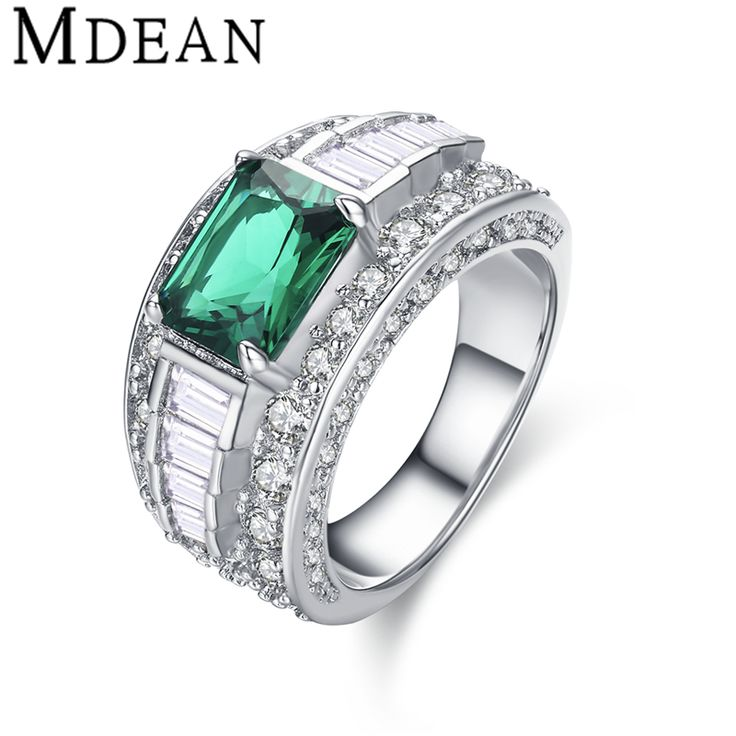MDEAN White Gold Plated Emerald Rings for women CZ diamond Jewelry women wedding rings Bague engagement Ring green bijoux MSR413