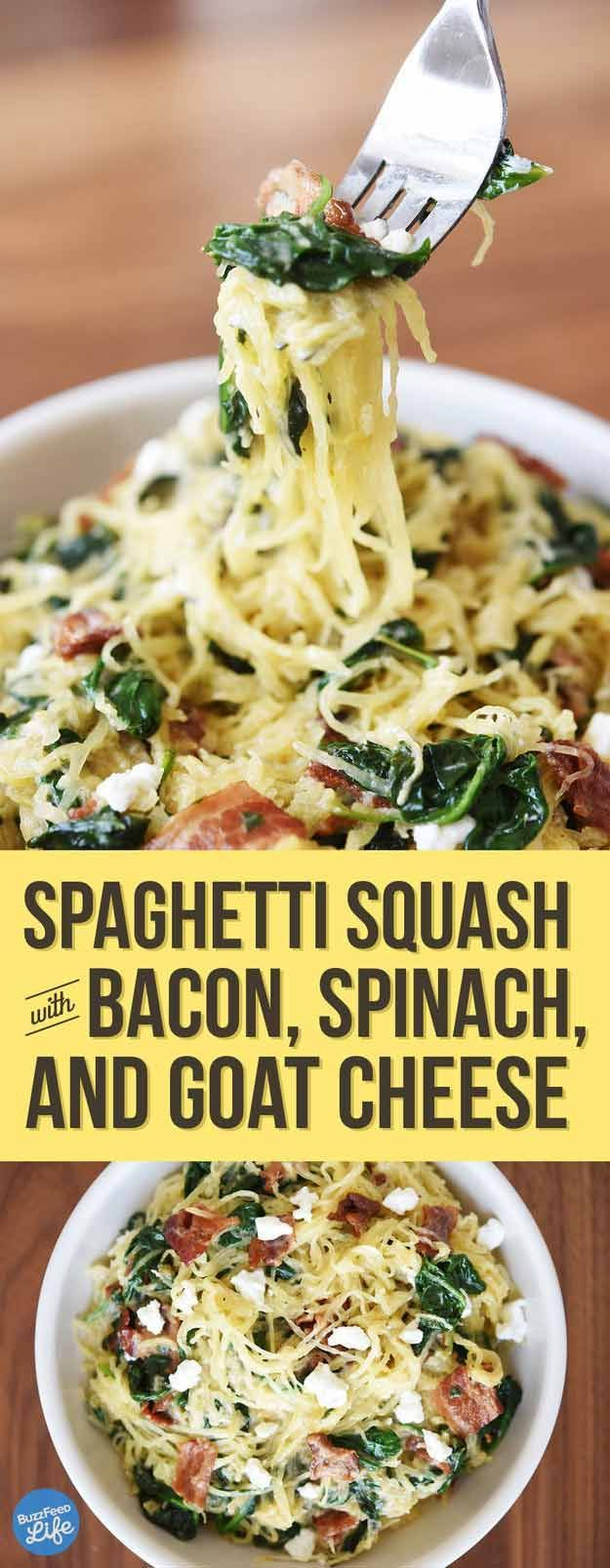 Spaghetti Squash with Bacon, Spinach & Goat Cheese | A Homesteader's Guide to Squash Recipes | Healthy And Delicious Homemade Recipes by Pioneer Settler at http://pioneersettler.com/homesteaders-guide-squash-recipes/
