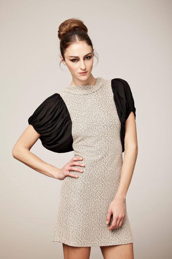 20 SALEGolden stretchy dress with black chiffon by VandaFashion, $92.00