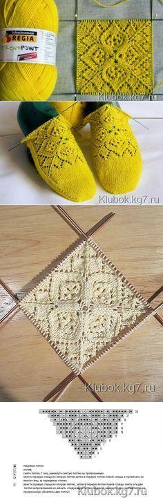 Socks with lace pattern on the instep ~~ вязание-узоры