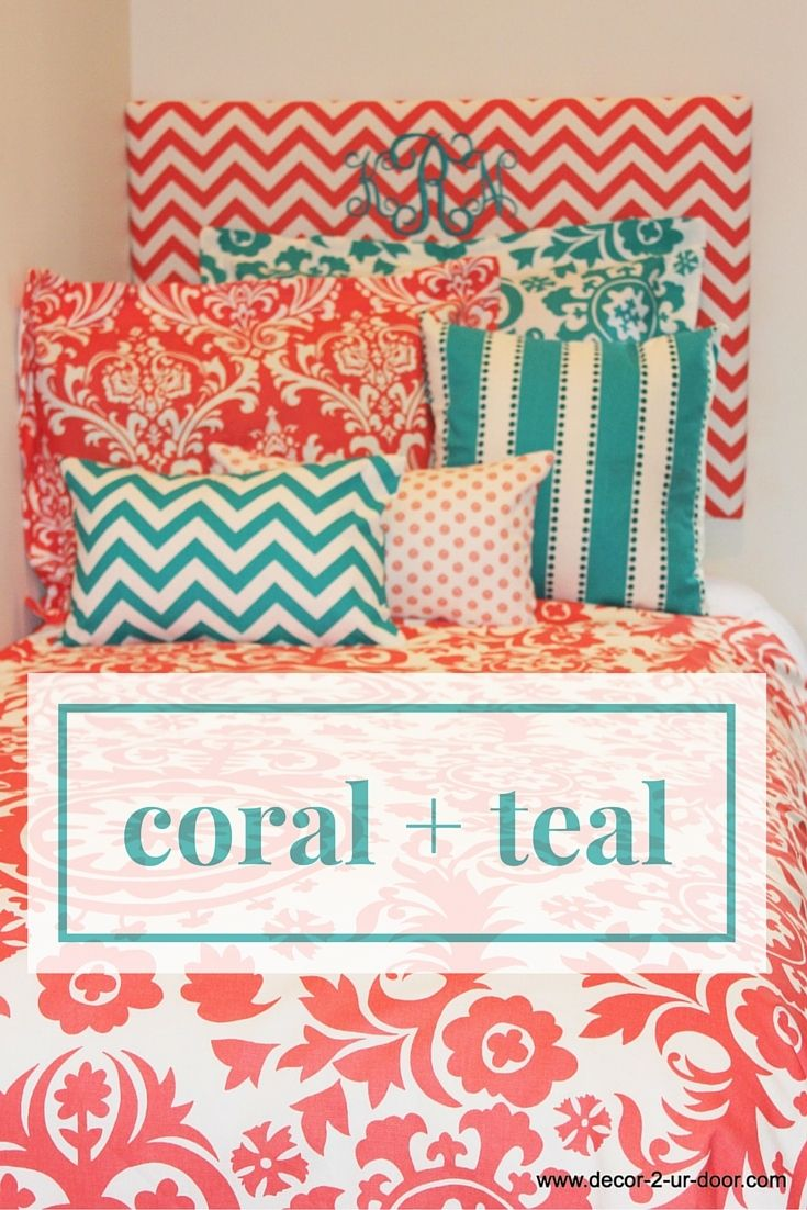 Design Your Own Dorm Room: Coral And Teal Dorm Room. Coral And Aqua Dorm. Coral Dorm
