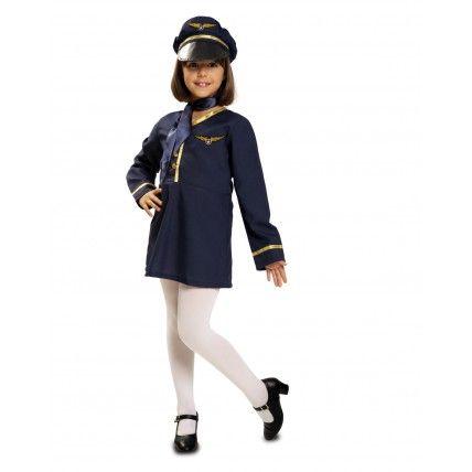 Disfraz de Azafata  Disfraces de Azafatas Infantiles  Original Disfraz de Azafata para niña, compuesto por sombrero, foulerd y vestido. Ideal para tu fiesta de disfraces de carnaval o para la fiesta de disfraces del colegio. 11.95€