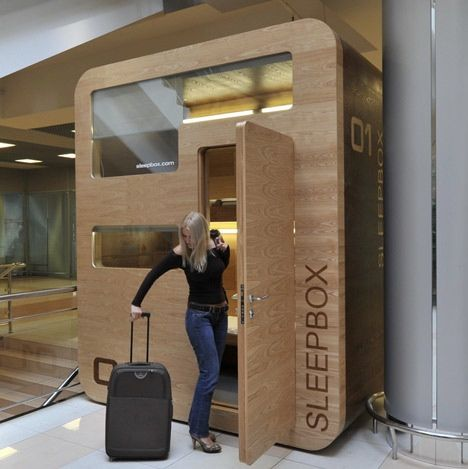 In mid-August 2011, the first Sleepbox was installed at the Aeroexpress terminal of Sheremetyevo International Airport, Moscow, Russia. It represents the base version made of MDF with a natural ash-tree veneer. This Sleepbox attracted such a great deal of interest from passengers and big companies that chances are first commercially operated boxes will be installed at airports and in the city by the end of this year.