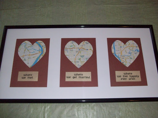 My own version of an anniversary gift, the Love Map.  Today was our 3rd anniversary, and we are in the process of buying our first home.  The background is supposed to look like leather, which is the gift for 3rd wedding anniversary.  We can't wait to hang it in our new home.
