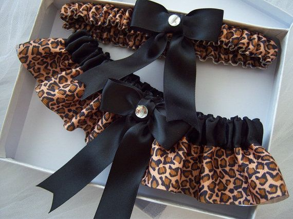 this is so common, but I love it. Leopard Print And Black Ribbon Garter Set. $20.00, via Etsy.