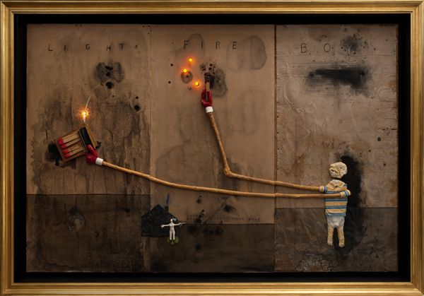 boy lights fire. david lynch, 2011.