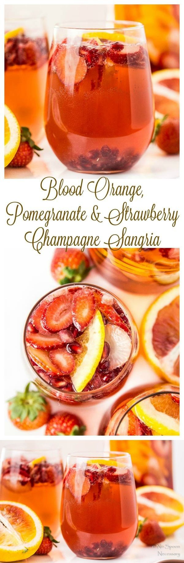 Champagne Sangria (with Blood Orange, Pomegranate & Strawberry