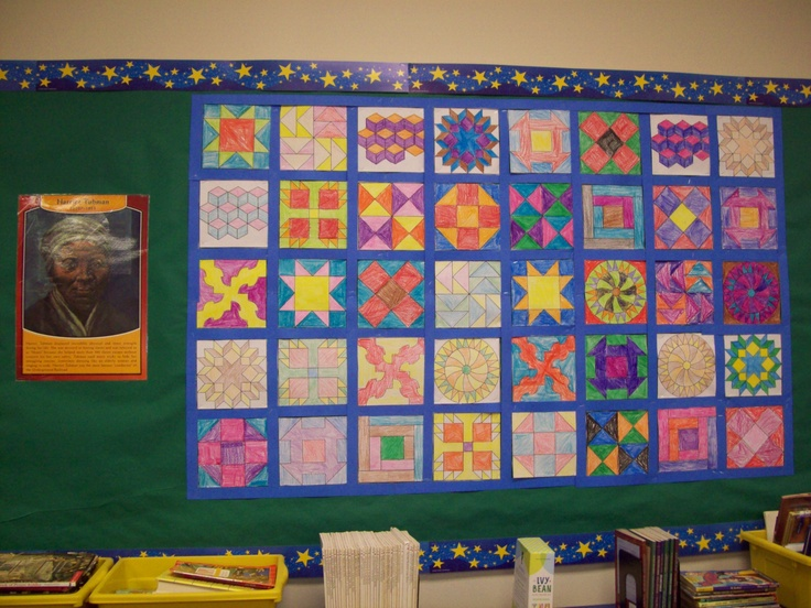 Bulletin Board on Harriet Tubman and the Underground Railroad.  My kiddos made the paper quilt!