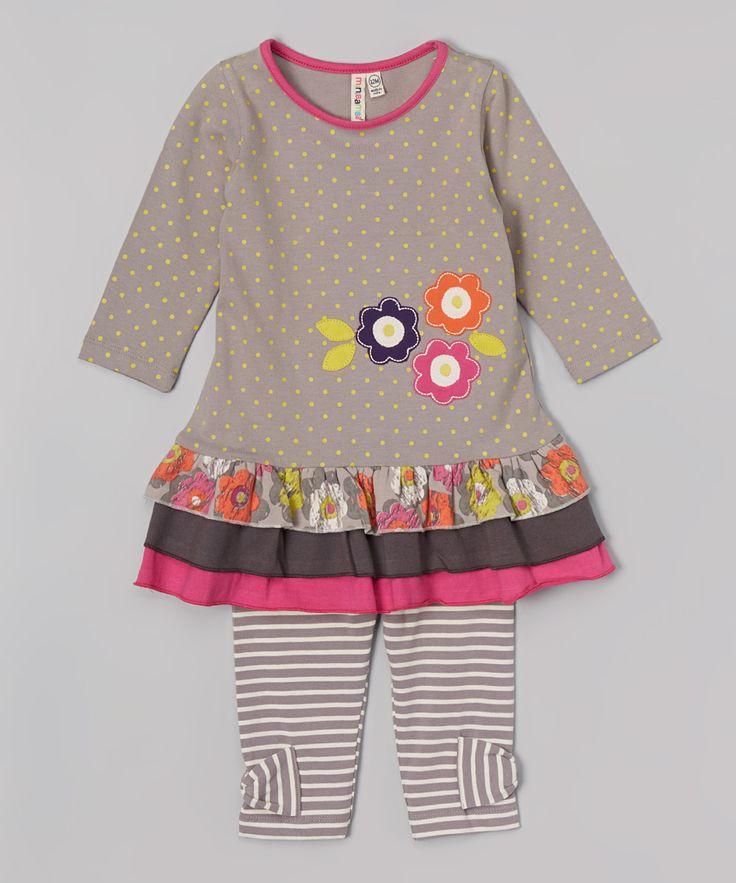 Gray Dot Ruffle Dress & Leggings - Infant & Toddler