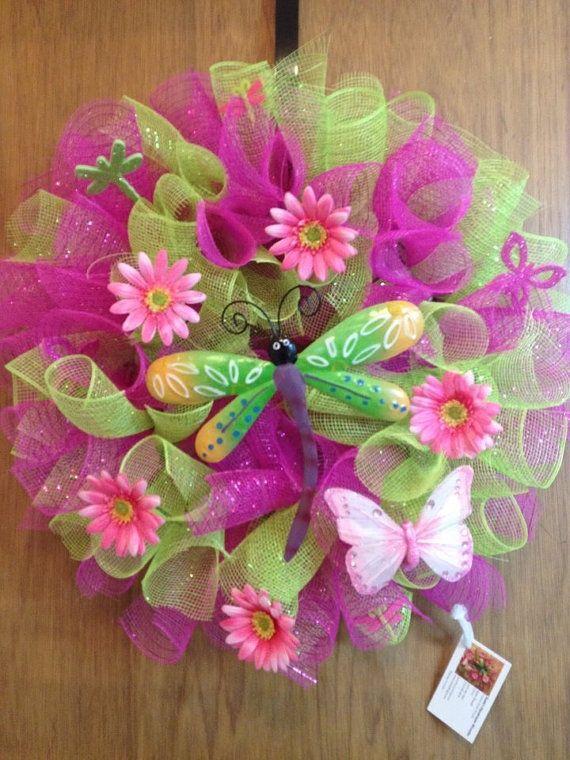 mesh spring wreaths for front door   visit etsy com