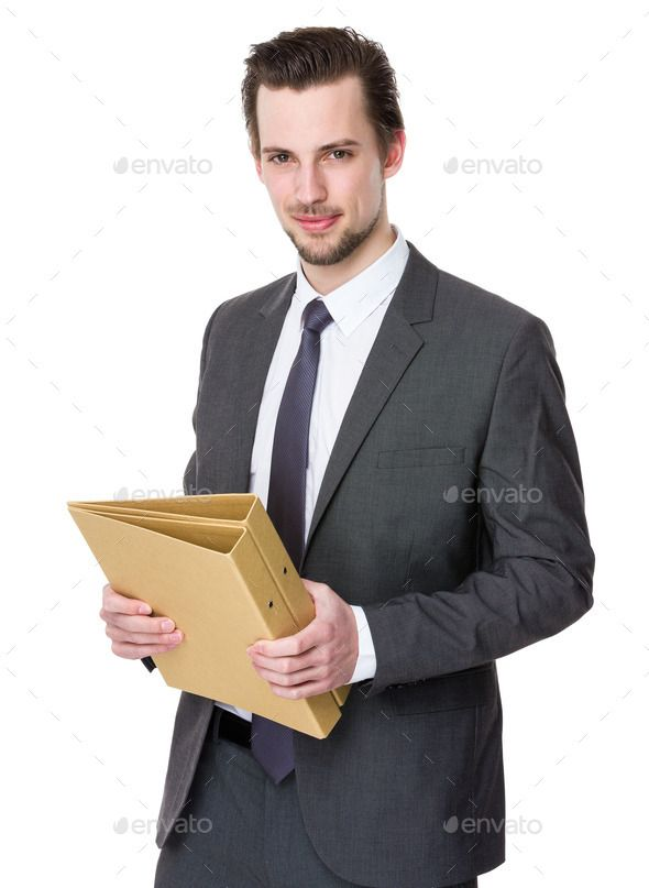 Businessman hold with file document