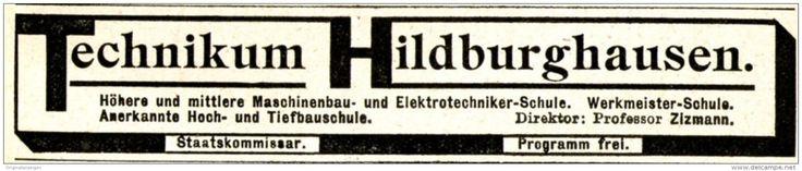 Original-Werbung/ Anzeige 1915 - TECHNIKUM HILDBURGHAUSEN - ca. 110 x 20 mm