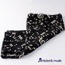 Music Printed Silk Scarf - Black