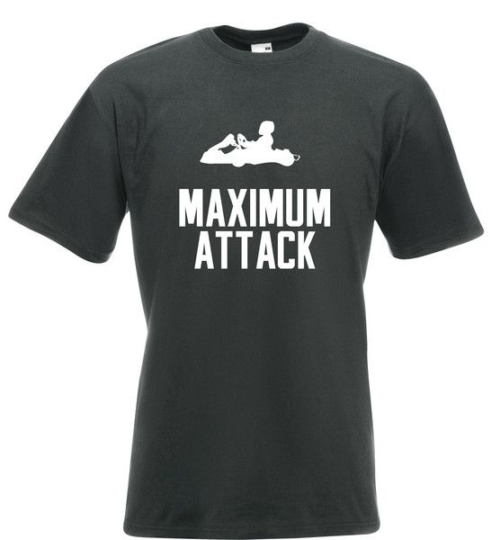 This Mens Karting T Shirt With Maximum Attack Slogan And Go Kart Silhouette Is Designed Printed By Tiger Prints UK