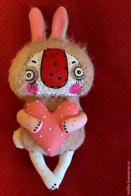 Игрушки животные, ручной работы. Ярмарка Мастеров - ручная работа. Купить Любовь и зайцы. Handmade. Розовый, сердце, трикотаж