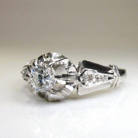 Antique Edwardian Platinum Diamond Engagement Ring – Rozental Antiques
