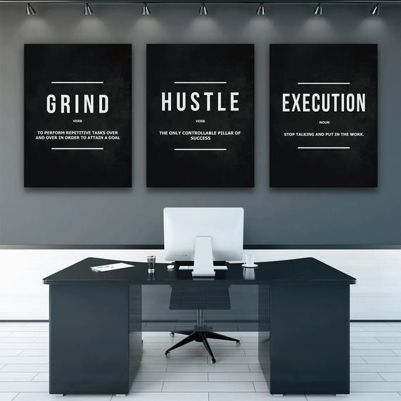 3 Pieces Grind Hustle Execution Wall Art Canvas Prints Office Decor Motivational Modern Art Entrepreneur Motivation Noun Verb Office Wall Art Motivational Wall Art Wall Art Pictures
