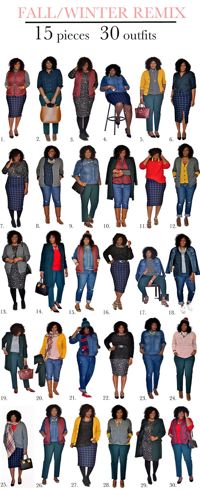 Plus size fashion for women: How to wear 15 pieces 30 different ways. Learn a few tricks on how to get the most out of your clothes. #closetremix #wardroberemix #assacisse #plussize #fall #winter #outfit.