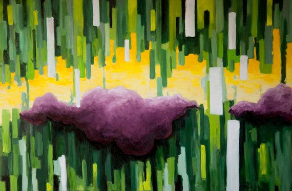 VIOLET Original abstract oil painting wall by JakubJecminekArt