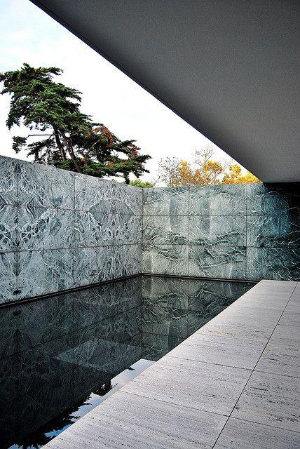 Ludwig Mies Van Der Rohe . rebuilt Barcelona pavilion, Barcelona, 1929