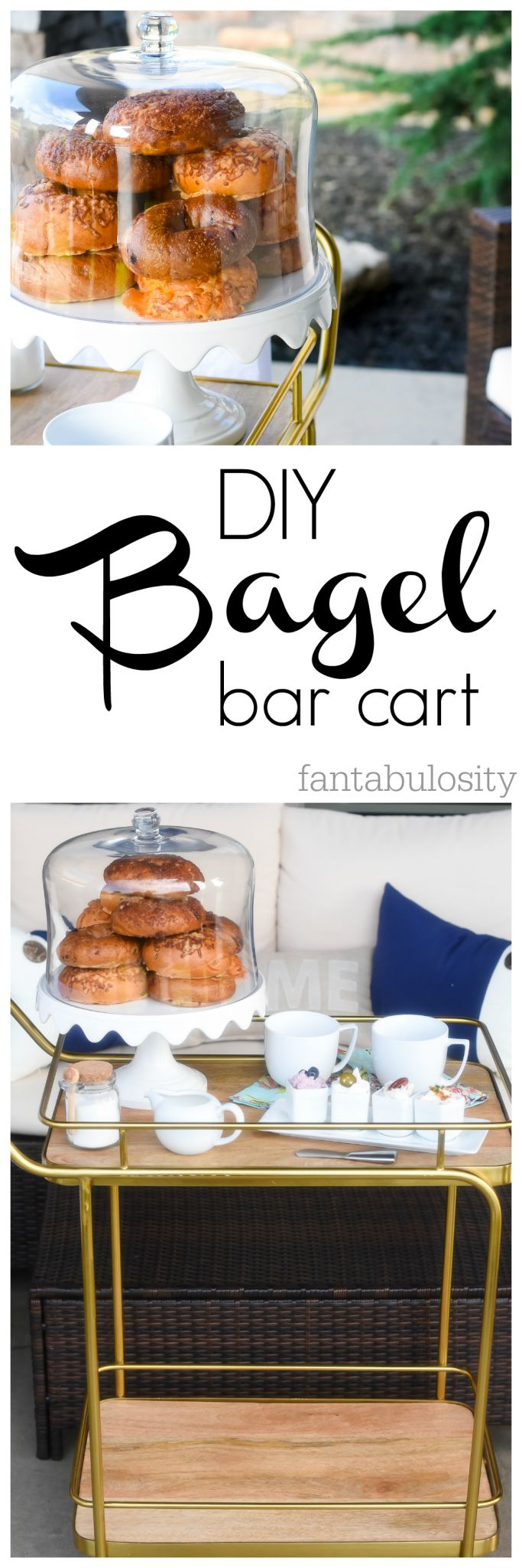 DIY Bagel Bar Cart Ideas. This is perfect for when we have houseguests!