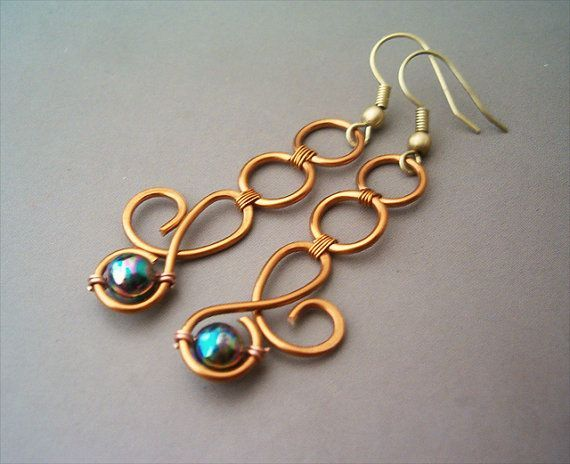 Hey, I found this really awesome Etsy listing at https://www.etsy.com/listing/161903262/wire-wrap-earrings-cognac-enamelled