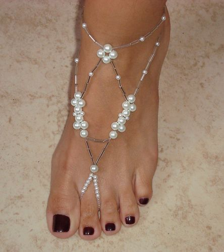 Crystal Glass Pearls (Wedding) (White) Barefoot Sandals - #8A | eBay