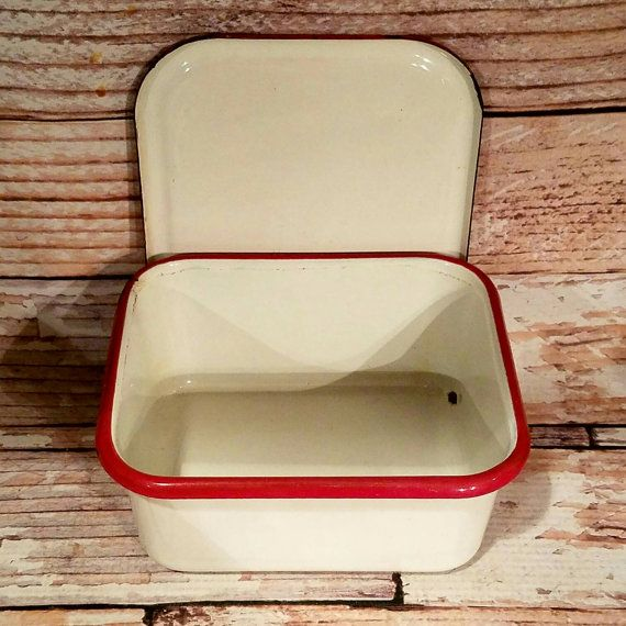 Vintage Enamelware Refrigerator dish Red and by VintageJunqueAmy