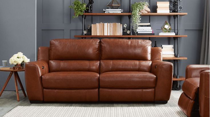 Miles 2.5 Seater Leather Sofa with Twin Electric Reclining Action | Domayne