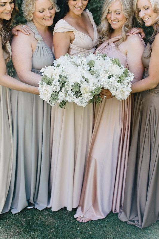 Neutral bridesmaid dresses | Wine Country Wedding | Pinterest