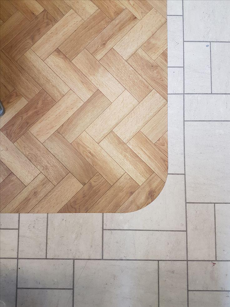 Our Showroom Floors Showcasing Top Left Corner: Amtico Signature Classic  Oak In Parquet Herringbone Design Surround: Amtico Signature Flagstone In  Dura Grey