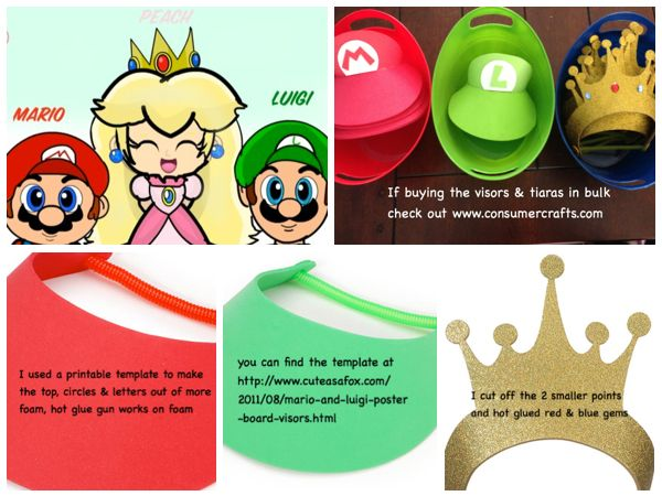 Mario Bros Party...DIY hats/visors & crowns...Template can be found at ...