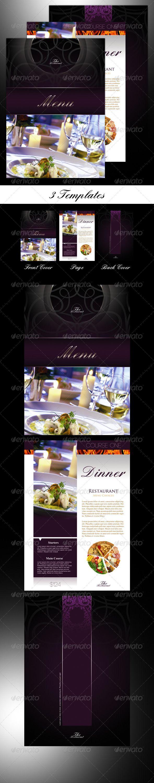 3 Restaurant Menu Templates by prowebmedia 3 restaurant menu templates in 300 dpi CMYK, ready for print. The restaurant menu templates come as 3 Photoshop psd files in A5 s
