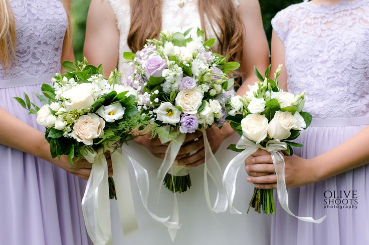 Bridal bouquet, bridesmaid's bouquets ocean song roses, lisianthus, baby's breath, vendela roses, fern...