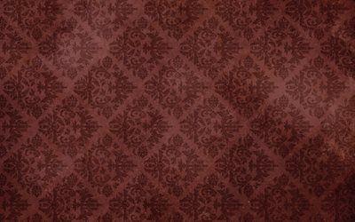 текстуры, винтаж, обои, орнамент, рисунок, узор, завитки, листья, потертость, пятна, фон, vintage wallpaper