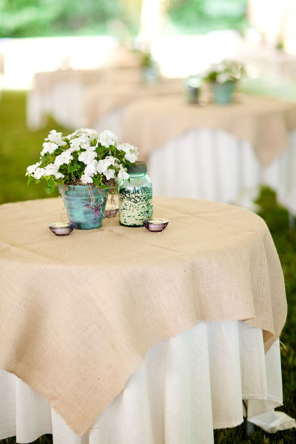 *The burlap on white for table cloths