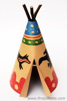 Paper Teepee Craft | Kids' Crafts | http://FirstPalette.com