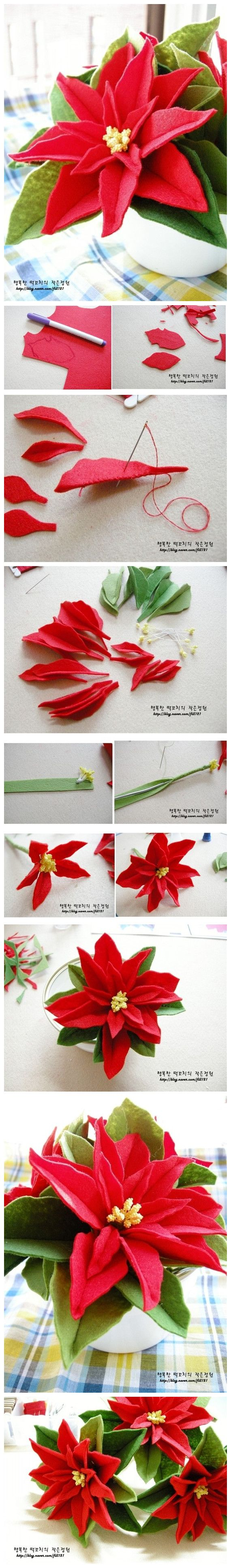 DIY felt Poinsettia - instructions in Chinese, and because they are images google translate can't help... But the pictures should be enough!