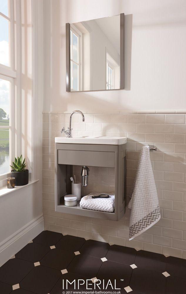 Astoria Deco Thurlestone open cloak vanity unit in stoneywell slate finish #imperialbathrooms #luxurybathroom #madeinengland