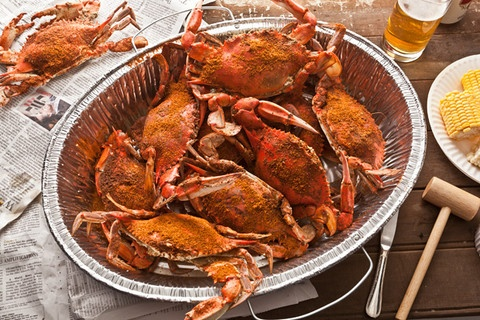 Steamed Blue Crabs made Maryland style! YUM! Great Father's Day dinner!  The recipe says to dip the crab in butter!  Butter is for King Crab.  Marylanders typically dip their crab in mixture of cider vinegar and Old Bay Seasoning!