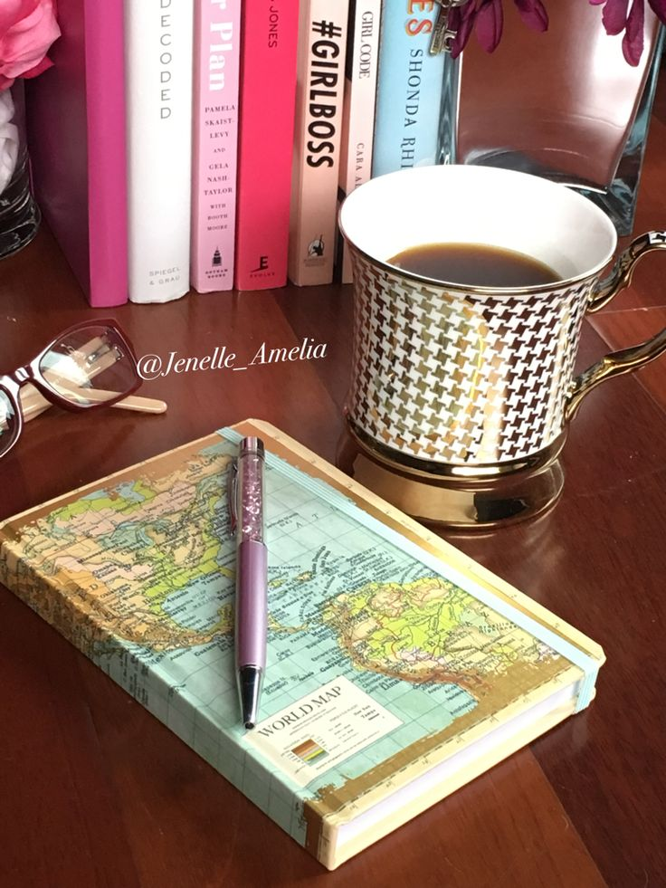 World map notebook and Ten Strawberry Street mug from Marshalls.  Pen by Swarovski Glasses by Burberry   #Marshalls #Mugs #Notebook #Reading #Journal #coffee #MarshallsSurprise #MarshallsFinds
