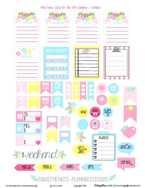 Free Printable Forget Me Nots Planner Stickers from Vintage Glam Studio