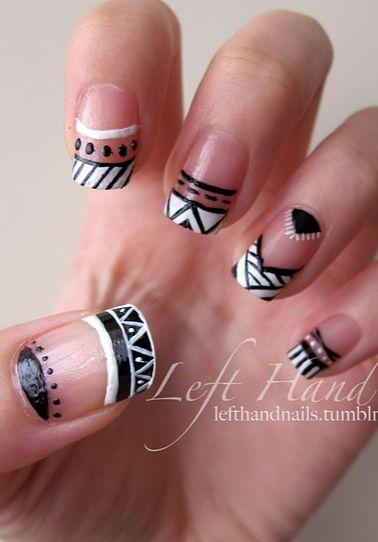 negative space tribal nail art