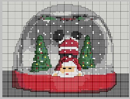 cross stitching - Santa globe. His Xmas deliveries must be over because he's turning summersaults!